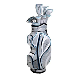 Tour Edge Women's Lady Complete Set, 11-piece (Right Handed, Petite, Silver and Blue, Graphite, Ladies)