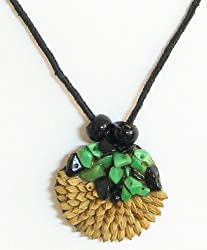 DollsofIndia Round Pendant with Rice Grains and Stone Beads - Rice Grains and Beads - Beige