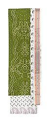 Bandhej Mart Women's Cotton Salwar Suit Material (Mehndi Green and White)