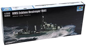 Trumpeter HMS Eskimo WWII British Tribal Class Destroyer Ship Model Kit (1941), Scale 1/350