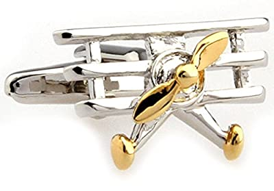 Triplane Tri Plane 2 Tone Airplane Cufflinks with a Presentation Gift Box