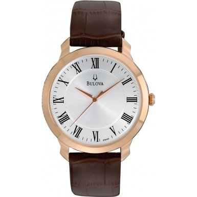 Bulova 97A107 Mens Dress White Brown Watch