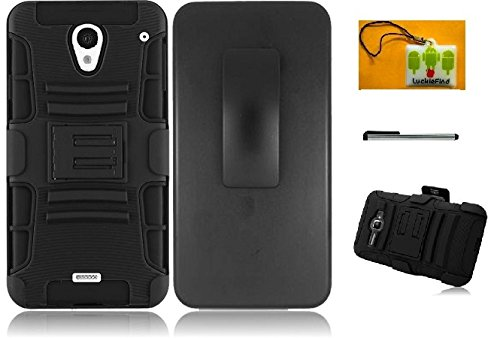 LF 3 in 1 Bundle - Armor Shock Proof Heavy Duty Stand Case with Swivel Belt Clip, Lf Stylus Pen & Droid Wiper Accessory for (Sprint) Sharp Aquos Crystal (Holster Black) (Sharp Aquos Case Armor compare prices)