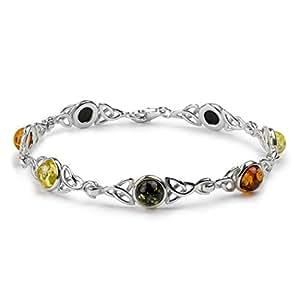 Amber by Graciana - 41276 - Bracelet Femme Noeud Celtique - Argent 925/1000 - Ambre Multicolore - 19cm
