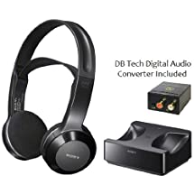 Sony Long Range Wireless Stereo Headphones with Wide Comfortable Headband, Volume Control and Mute Switch + DB Tech Digital to Analog Audio Converter for all Panasonic VIERA TC-L42ET5, TC-L47ET5 & TC-L55ET5 3D Full HD IPS LED-LCD Large Screen TV - Works Up To 26 feet Away