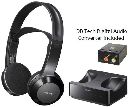 Sony Long Range Wireless Stereo Headphones With Wide Comfortable Headband, Volume Control And Mute Switch + Db Tech Digital To Analog Audio Converter For All Mitsubishi Wd-73C11, Wd-73C12, Wd-82C12 & Wd-92A12 3D Dlp Home Cinema Hdtv Full Hd Large Screen T