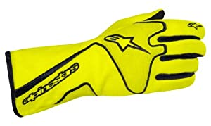 Alpinestars (3551113-551-S) Yellow Fluorescent/Black Small Tech 1 Race Gloves