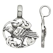 Pewter Raven in Celtic Knot Charm Pendant with Extra Large Bail