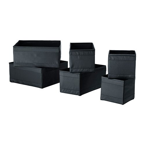 Ikea Storage Box, Set of 6, Black