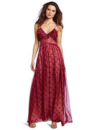 aryn K Women's Ruffle Maxi Dress, Vintage Lotus, X-Small