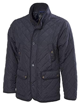 VEDONEIRE Mens Quilted Jacket (3036) NAVY Button Front Jacket padded quilt coat (Small (chest 35-37 inches))