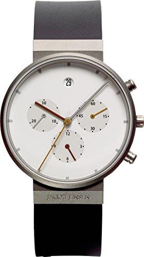 JACOB JENSEN - JACOB JENSEN ITEM NO.: 601 - Montre Homme - Quartz - Analogique - Chronomètre - Bracelet Caoutchouc noir