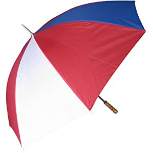 RainStoppers W015ROW 60-Inch Metal Shaft Golf Size Umbrella with Wood Handle, Red/White/Blue