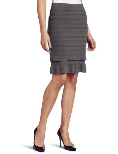 AK Anne Klein Women's Bottom Ruffle Rib Knit Skirt