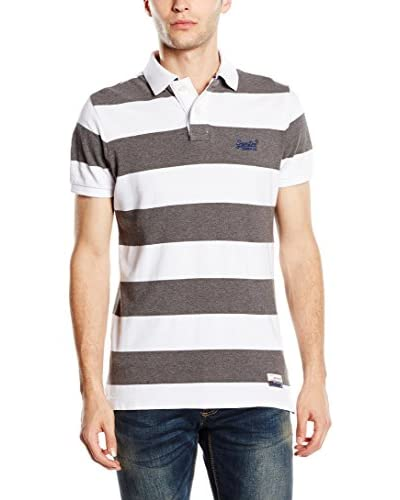 SUPERDRY Polo  Blanco / Gris XS