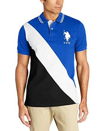 U.S. Polo Assn. Men's Color Block Polo With Big Pony, Cobalt Blue, X-Large