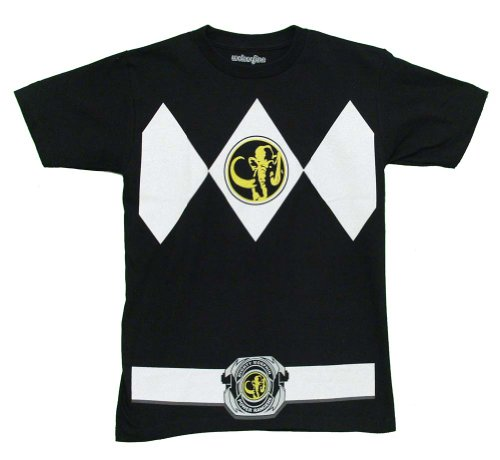 Mighty Morphin Power Rangers Black Ranger Costume Adult T-Shirt Tee