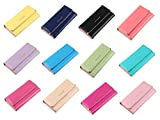 [ MT On&Do ] レディース 長財布 シンプル 三つ折り たっぷりカード収納 ハート スマホも入る カラー豊富 ピンク ブラック ネイビー イエロー スイカ ベージュ ブルー パープル (ネイビー)