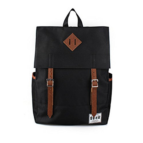 YAAGLE Unisex Canvas Leisure School Students Laptop Travel Shopping Backpack Black  Yellow  Red  Green