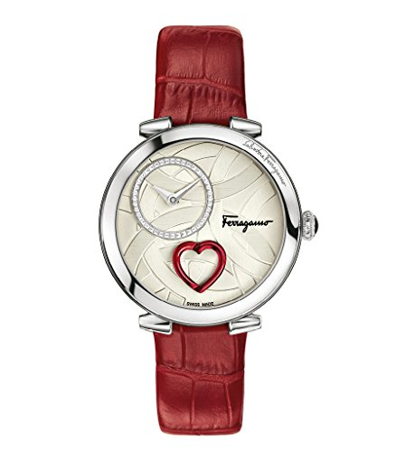 Salvatore-Ferragamo-Womens-CUORE-Swiss-Quartz-Stainless-Steel-and-Leather-Casual-Watch-ColorRed-Model-FE2980016