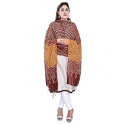 Soundarya Brown Orange Bandhej Cotton Hand Work Dupatta