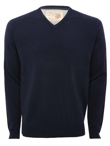 Mens Long Sleeve V Neck Soft Touch Summer Knitwear Jumper Navy L