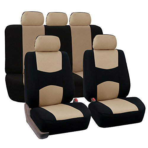 FH-FB050115 Full Set Flat Cloth Car Seat Covers Beige Color- Fit Most Car, Truck, Suv, or Van (Car Seat Covers For Honda Crv compare prices)