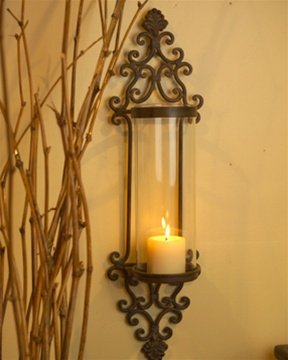 Iron And Glass Candle Wall Sconces : Amazon.com: Large Glass and Iron Wall Candle Sconce: Home Improvement