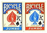 Bicycle Poker Standard Size Jumbo Face Index Playing Cards Blue and RED Color- ONE Dozen (12 Pack)