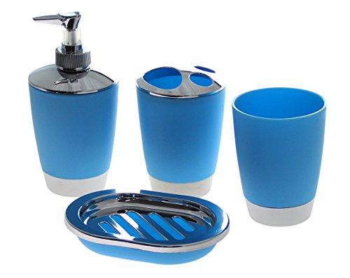 Justnile 4 piece acrylic bathroom accessory set blue for Blue bath accessories set