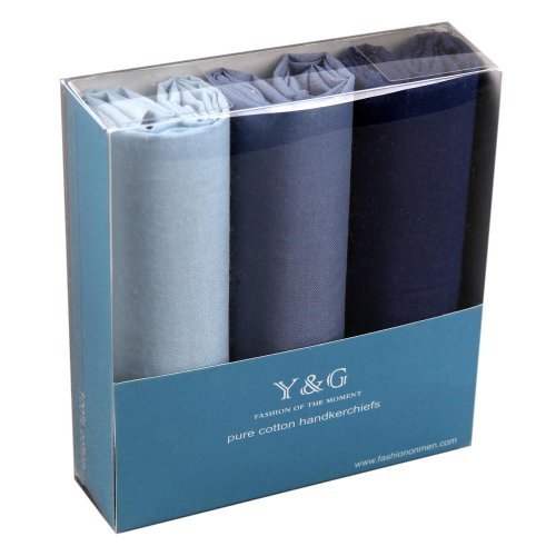 MH1039 Hallowmas Gift 3 Pack Cotton Handkerchiefs Mens Blue Set Wedding Presents Thank You Formal Wear By Y&G