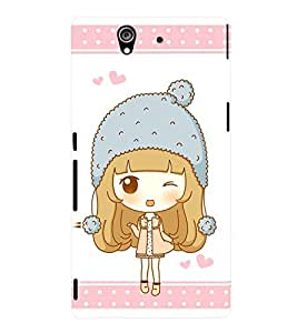 Printvisa Animated Sweet Winking Girl Back Case Cover for Sony Xperia Z::Sony Xperia Z L36h