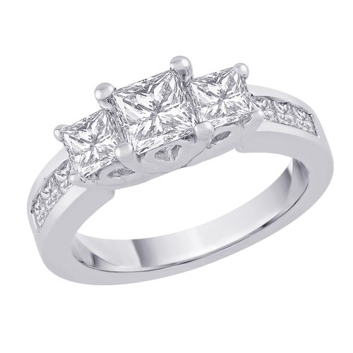 3 Cubic Zirconia Square Shaped Anniversary Ring 2 ct. in Sterling Silver