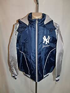 NEW YORK YANKEES Mens XL XLARGE HOODED WINTER COAT JACKET MLB BLUE EMBROIDERED NWT!