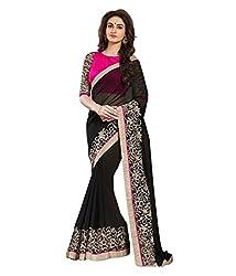 Meera Trendz Women's Georgette Saree(Balckvaav_Black)