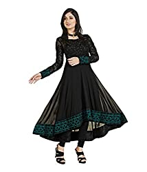 Siya Fashion women's Faux Georgette Party Wear Unstitched Dress Material(si7_Black color)