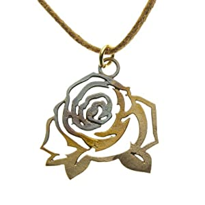 Vintage Rose Filigree Pendant Necklace