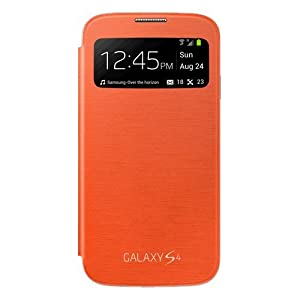 Samsung S-View Window Flip Premium Case Cover for Samsung Galaxy S4 - Orange