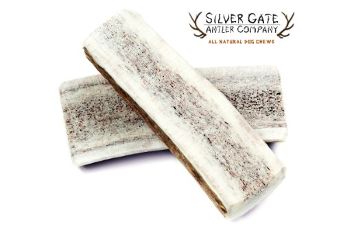 "Silver Gate Antlers Elk Antler Split Dog Chews *2 Pack* - Small 3-4"", All Natural Premium Antler Dog Chew 