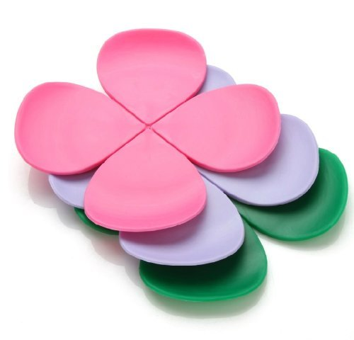 6-Pack Modern Home Decor Silicone flower Shape Coaster Cup Insulation Mat for Home dinning wedding party banquet designer favor (Assorted