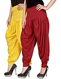Navyataa Women's Lycra Dhoti Pants For Women Patiyala Dhoti Lycra Salwar Free Size (Pack Of 2) Yellow & Red