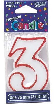 Bulk Buys Birthday Candle Number Three - Case of 12
