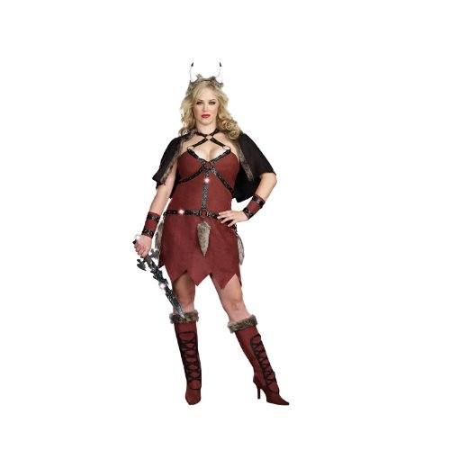 Dreamgirl Viking Warrior Womens Plus Costume, Brown, 3X/4X