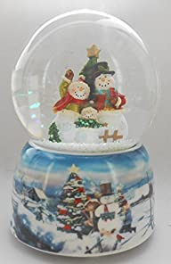 Lightahead® Resin 100MM Snowman with printed picture base musical water ball Table Top Decoration