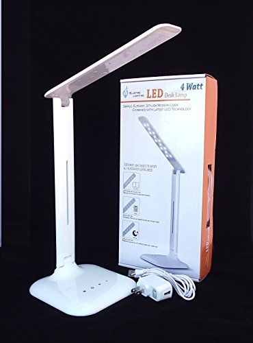 Bluefire Elegant Stylish Led Desk Lamp 4W, 3-Lighting Modes, 5-Level Dimmer, Ul Certified Ac Adapter--- The Best Holiday Gift For Students
