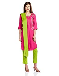 Aurelia Women's Straight Salwar Suit (16FED10419-01599_New Pink_Small)