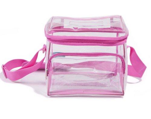 Wholesale Heavy Duty Medium Clear Lunch Bag Case Of 25 (Pink, 10″ W X 7.5″ H X 7.5″ D)