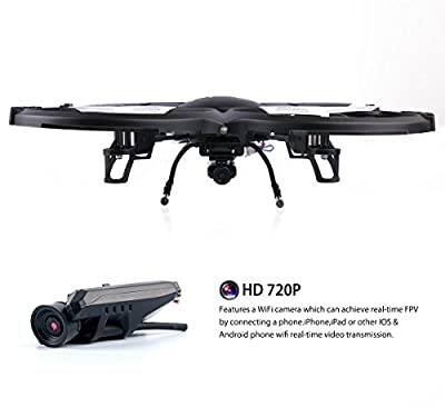 DBPOWER U818A WiFi FPV RC Quadcopter with HD Camera 2.4G 4CH 6 Axis Gyro RTF Drone Low Voltage Alarm, Gravity Induction and Headless Mode Includes Bonus Battery