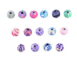 AlphaAcc 100 Fimo Polymer Clay Round Beads Variety Size 8mm