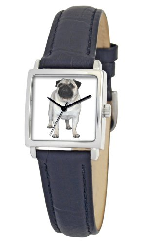 American Kennel Club Women's D1778S010 Pug Silver-Tone Black Leather Watch